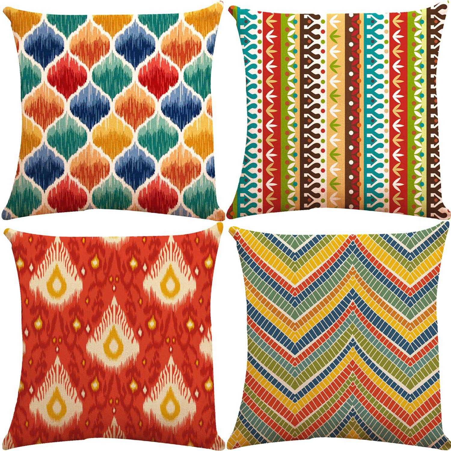ZUEXT Outdoor Cotton Linen Throw Pillow Covers 18x18 Inch Set of 4, 2 Side Print Square Decorative Pillowcase for Car Couch Sofa Home Decor (Orange Red Blue Aqua Modern World Traveller Fiesta Mexico)