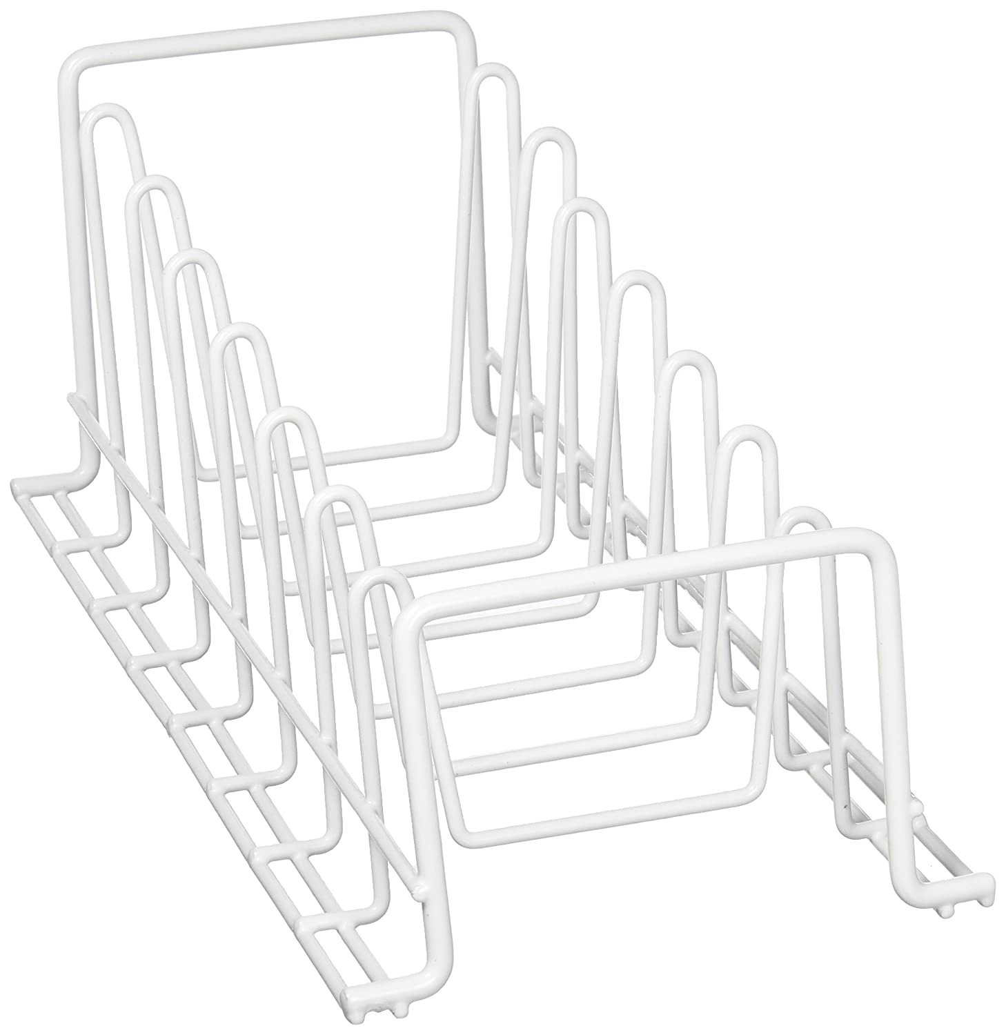 Organize It All Vinyl Coated Kitchen Wire Lid Plate Rack - White 1902W