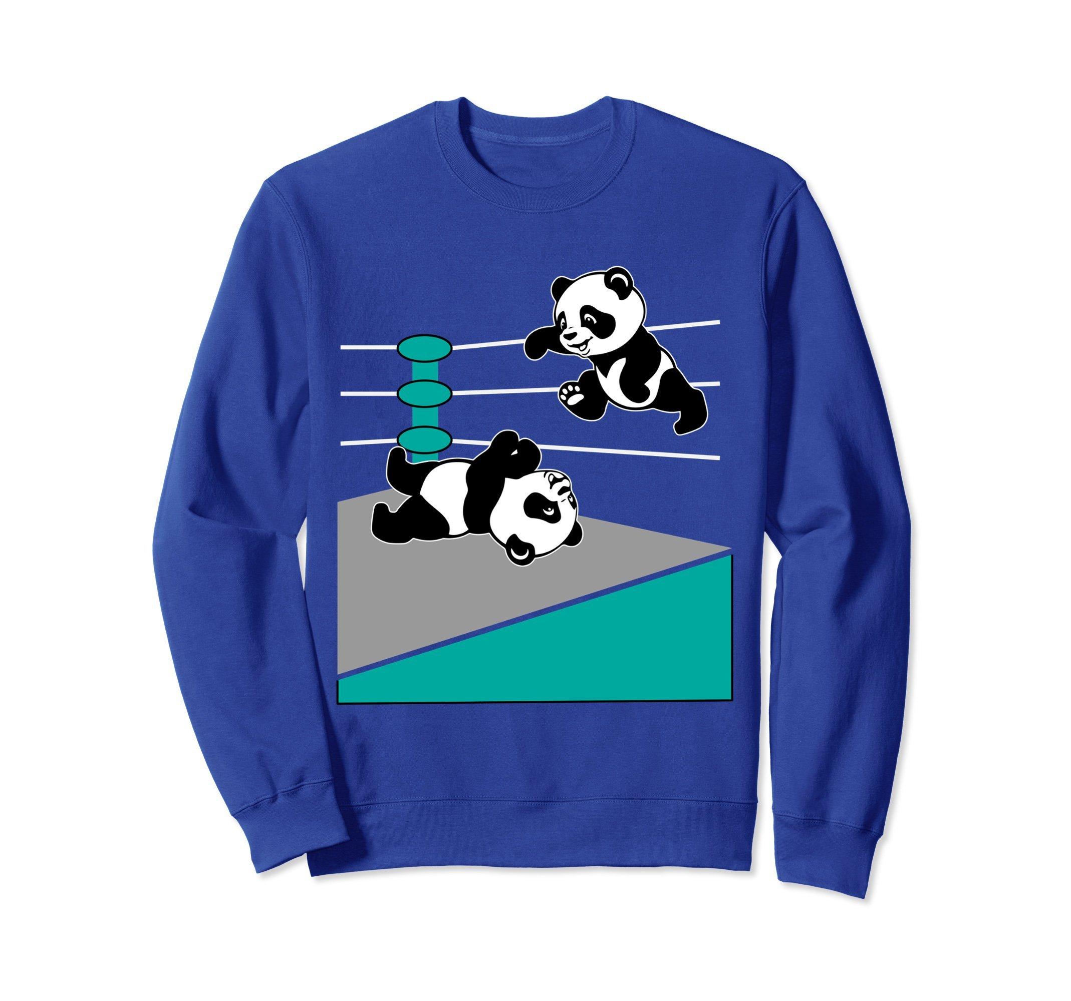 Unisex Wrestling Sweatshirt - Panda Wrestling Top Ropes Sweater Medium Royal Blue by Wrestling Sweatshirt by Crush Retro