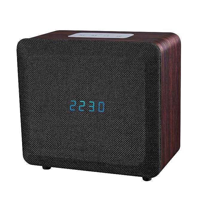 Samtronic Wooden Bluetooth Alarm Clock Radio Speaker