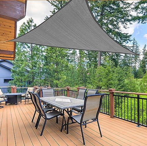 Osimlead 16' x 16' x 16' Triangle Grey Sun Shade Sail Canopy Outdoor Awning UV Block