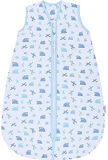 Saco de dormir azul de Snoozebag con diseño de aviones y trenes, 100% algodón