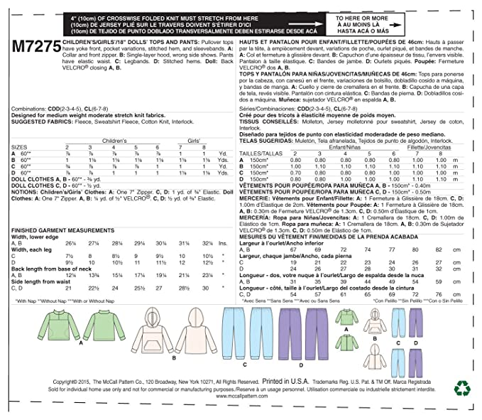 Amazon.com: McCalls Patterns M7275 Childrens/Girls/18
