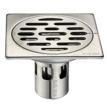 CVBAB Bathroom Floor Drain 304 Stainless Steel Square Shower Drain With  Removable Strainer And Cover,