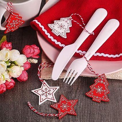 ZOYLINK 120 Piezas Adornos Arbol Navidad Decoracion Navidad Arbol Colgantes de Navidad Decoracion Navideña Hogar Adornos de Navidad de Madera