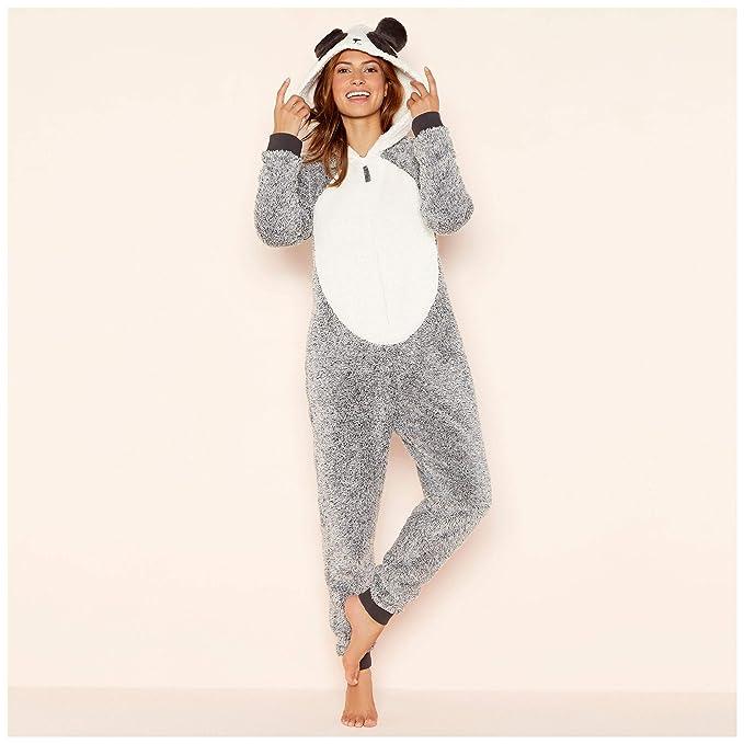 358a9d4fc940 Lounge   Sleep Womens Petite Grey Fleece  Panda  Hooded All in One Jumpsuit  16  Lounge   Sleep  Amazon.co.uk  Clothing