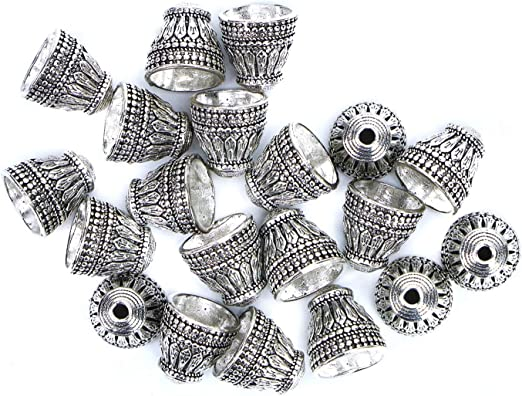 Monrocco 50pcs Antique Silver Bead Caps Flower Bead caps for Jewelry Making