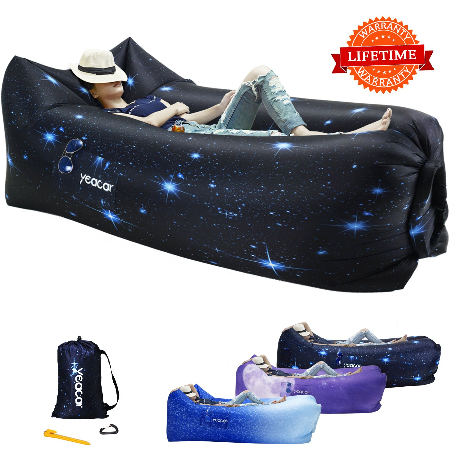 yeacar Inflatable Lounger Airインフレータブルソファソファ、ポータブル防水屋内または屋外のキャンプ公園ハイキング旅行ピクニックプールandビーチパーティー音楽祭 B078V5JHST  Cosmos