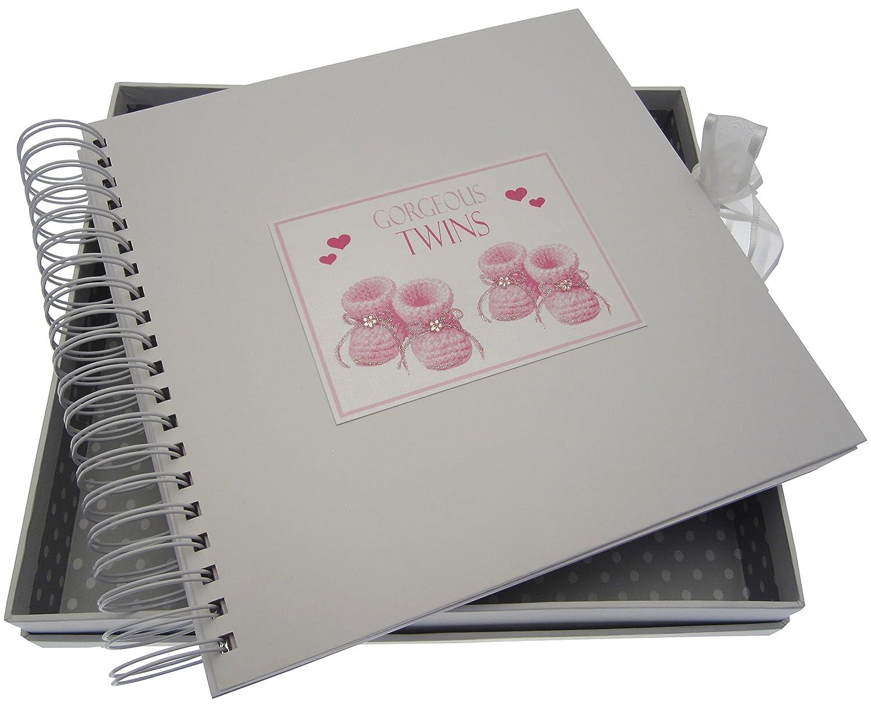 Large Keepsake Box Pink Booties White Cotton Cards Gorgeous Twins
