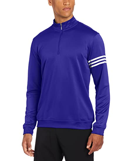 6ba537bb7 Amazon.com   adidas Golf Men s Climalite Long Sleeve Layering 3-Stripe  Pullover   Golf Jackets   Clothing