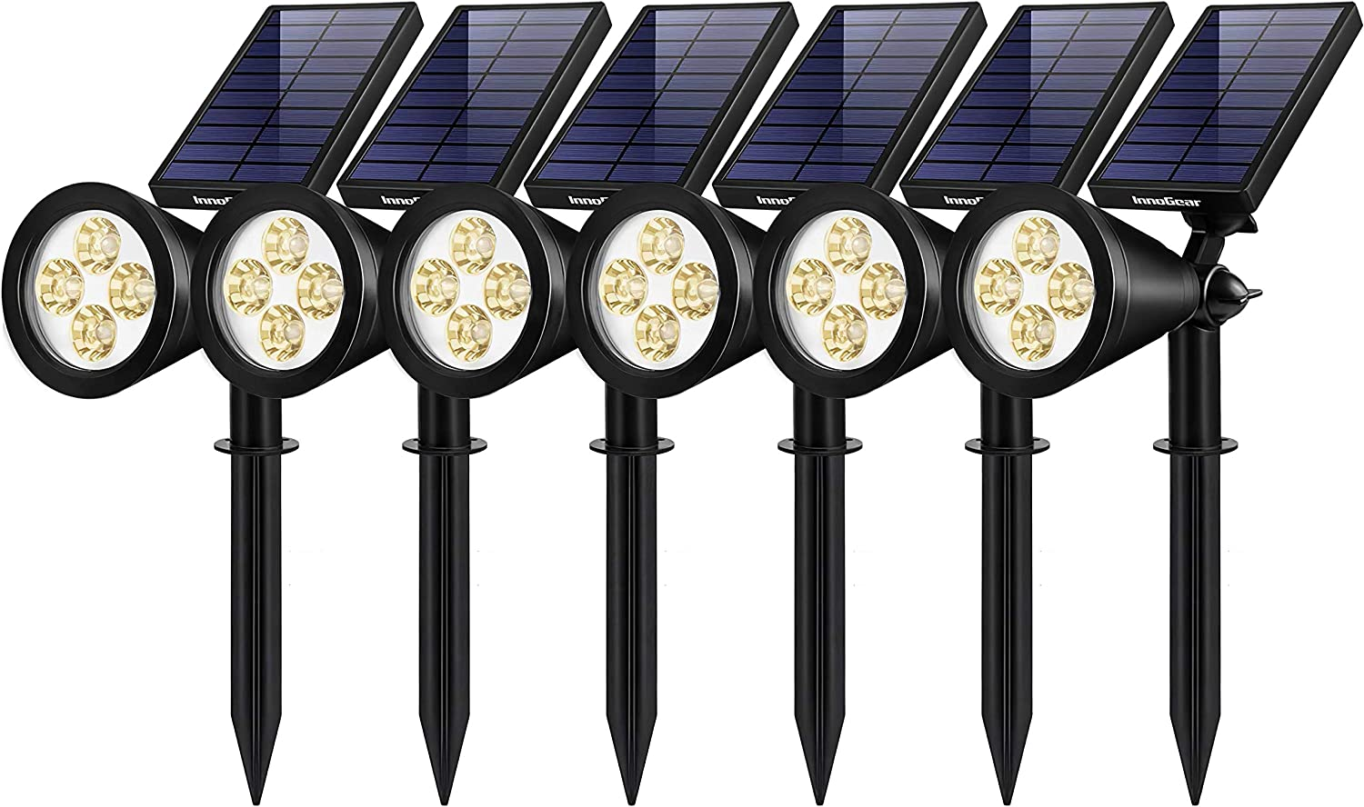 InnoGear Solar Lights Outdoor, Upgraded Waterproof Solar Powered Landscape Spotlights 2-in-1 Wall Light Decorative Lighting Auto On/Off for Pathway Garden Patio Yard Driveway Pool, Pack of 6 (Warm)