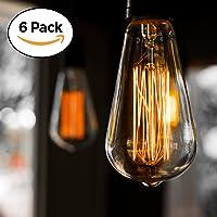 Pack de 6 ampoules Edison, Ampoule ancienne de style vintage, Ambre chaude, Dimmable (60w/220v)