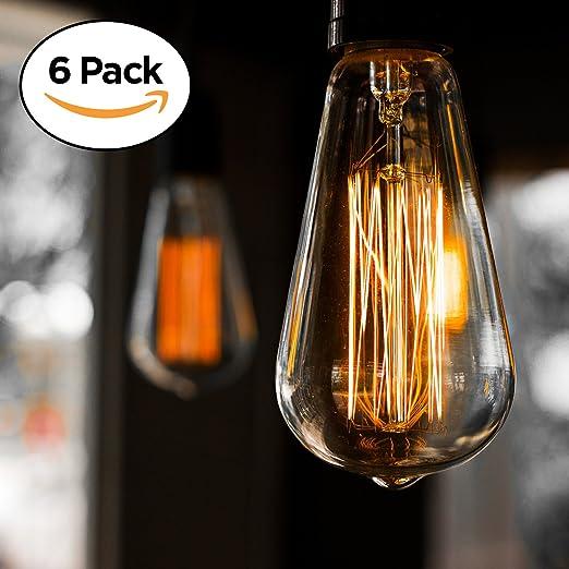 6 pack edison light bulb antique vintage style light amber warm