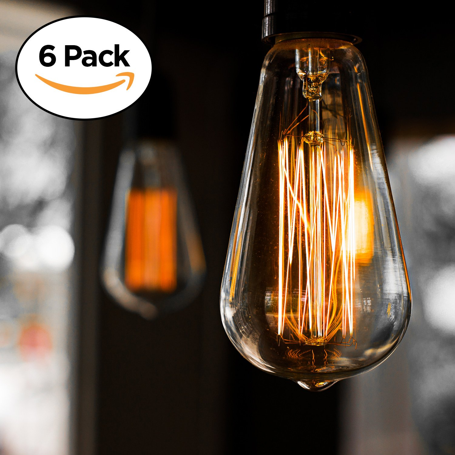 6-Pack Edison Light Bulb, Antique Vintage Style Light, Amber Warm, Dimmable (60w/110v) by Basics Hardware