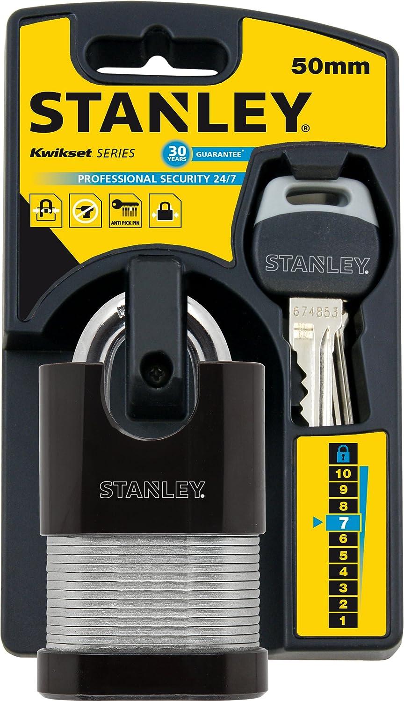 STANLEY Security 24/7 Laminated Vorhangschloss 50mm mit Standard-Bü gel, 2er Pack, gleichschließ end, 4 Schlü ssel, S742-006, Schloss, Bü gelschloss BLAMT 81031363502