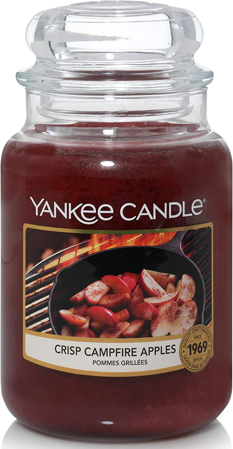 Yankee Candle Scented Candle | Crisp Campfire Apples Large Jar Candle | Up to 150 Hours Burn Time, Red