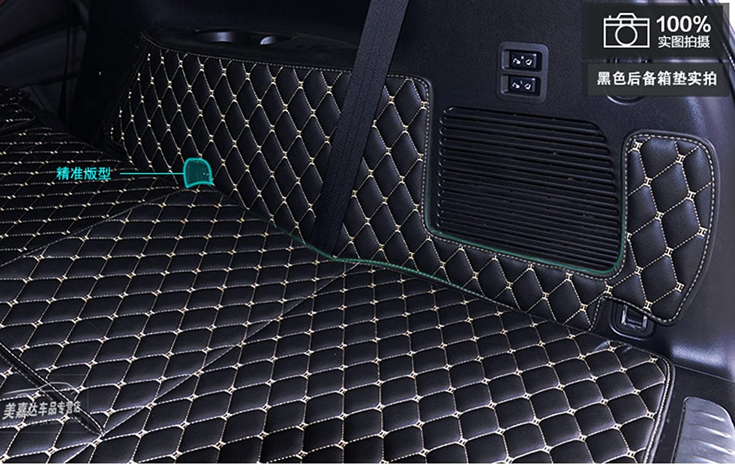 With Armrest box on the 2nd row Worth-Mats 3D Full Coverage Waterproof Car Trunk Mat For Infiniti QX80//QX56 -Black
