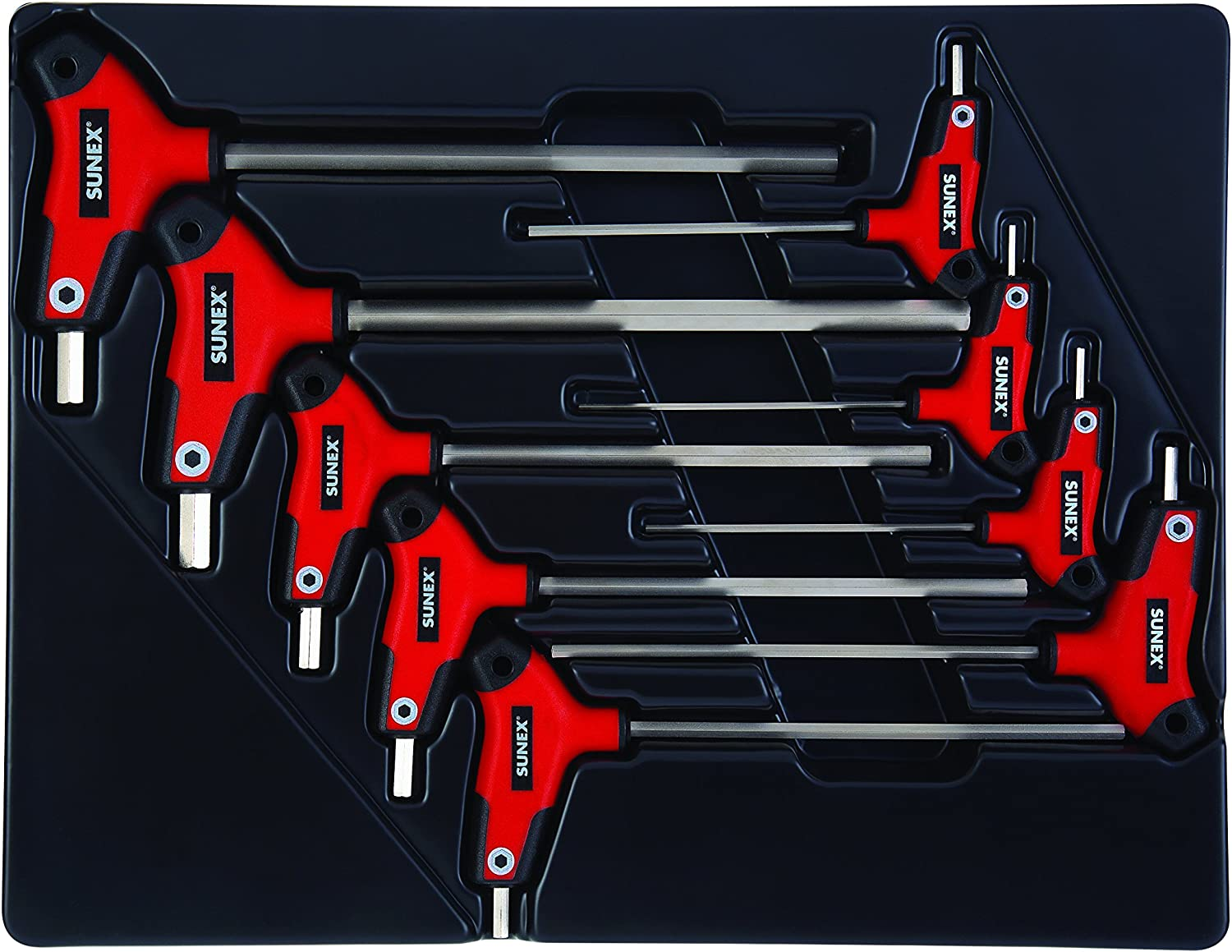 Star Hex Key Set Storage Tray Sunex Tools Rubber Overmolded Handle 7Piece T10 to T40 Sunex 9857T Comfort Grip