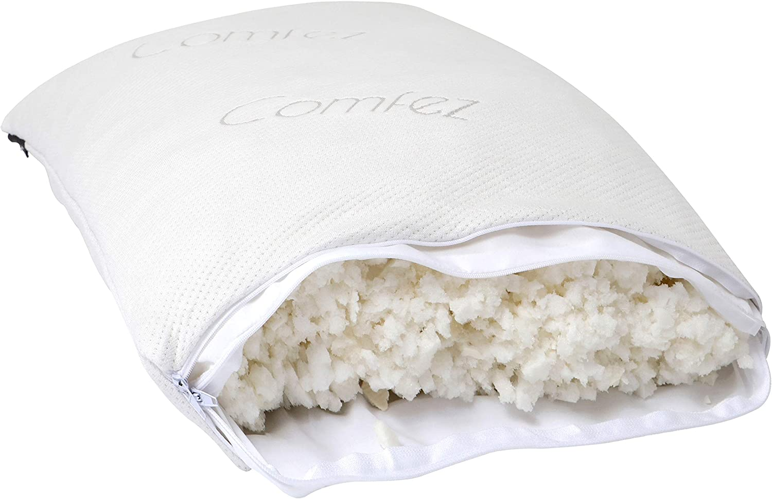 Comfez Shredded Memory Foam Pillow | Removable Washable Cooling Bamboo Cover | Adjustable Thickness for Back, Side & Stomach Sleepers | Pain Relief (Standard 20x36)
