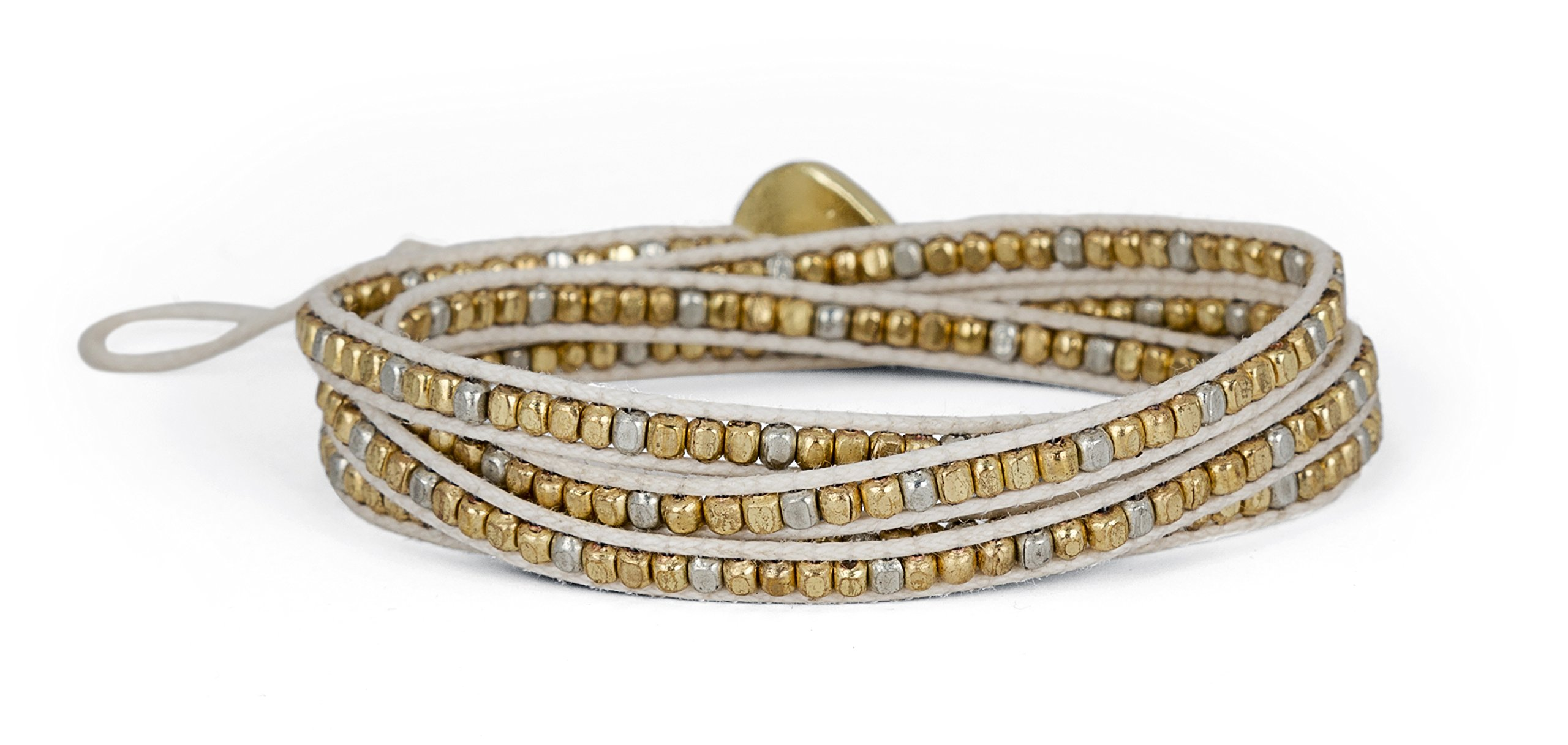 New! Handmade Boho 4 Wrap Bracelet Gold and Silver and Creme for Women | SPUNKYsoul Collection