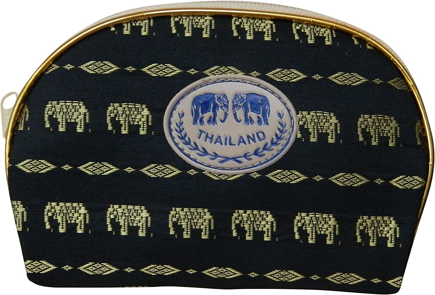 Thai Made Black Elephant Pattern Cosmetics Bag