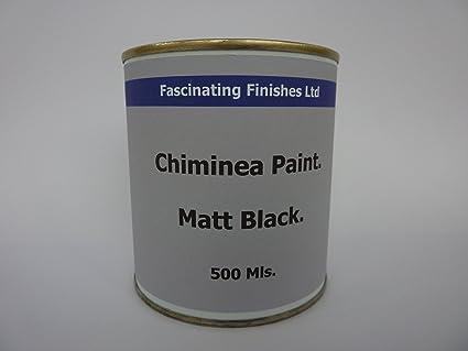 1 x 500 ml Negro Mate Pintura De Chimenea barbacoa alta resistente al calor