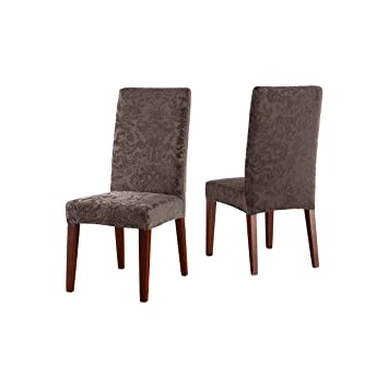 Sure Fit Stretch Jacquard Damask Short Dining Room Chair Cover Espresso