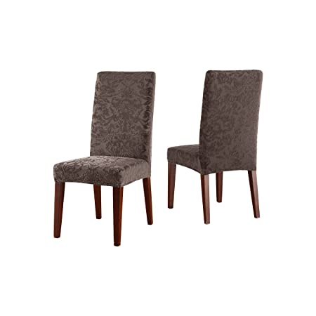 Sure Fit Stretch Jacquard Damask Short Dining Room Chair Cover Espresso Amazoncouk Kitchen Home
