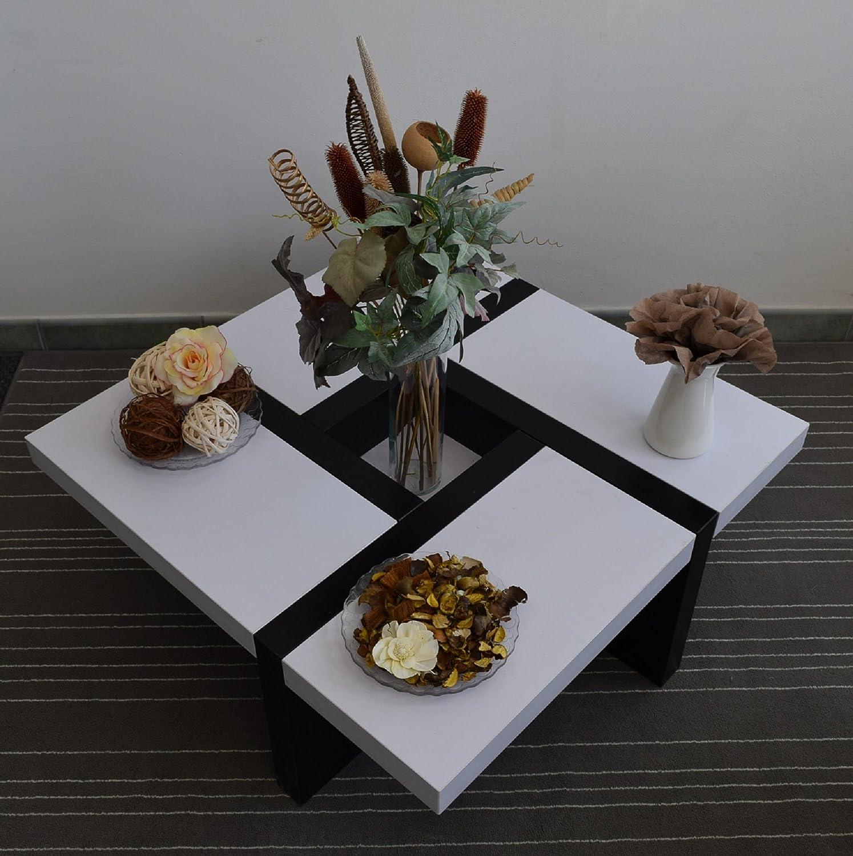 mobili rebecca® tavolino salotto quadrato legno bianco nero ... - Soggiorno Quadrato 2