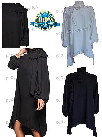 8e5d0649f909e2 NEW WOMENS CLASSIC ELEGANT PUSSY BOW TIE NECK BLOUSE LADIES SHIRT TOP  DRESS  Amazon.co.uk  Clothing