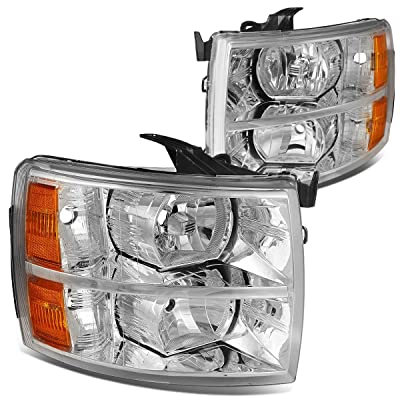 DNA Motoring HL-OH-CSIL07-CH-AM Headlight (Driver and Passenger Side) [For 07-14 Chevy Silverado],Chrome amber: Automotive