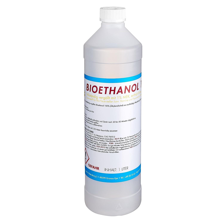 TOP FIRE - 12 Liter Bioethanol 100% (12 x 1l), Brenndauer ca. 2 Stunden pro Liter, Ethanol Made in Germany für den sicheren Hausgebrauch
