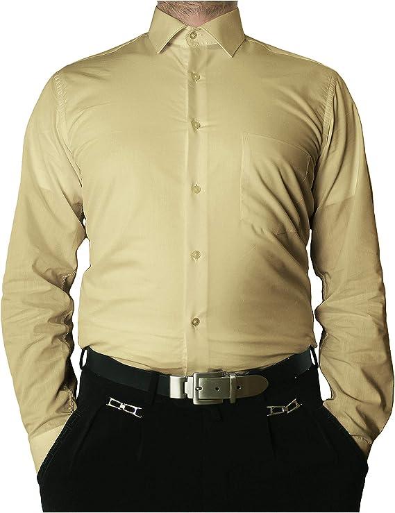 Herren Hemd Klassisch Business Langarm Beige  39 40 41
