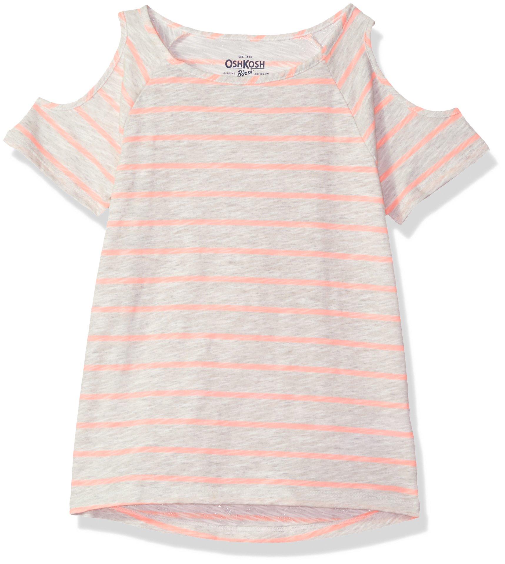 Osh Kosh Girls' Kids Fashion Tops, Coral Stripe, 4-5