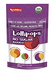 Koochikoo Sugar Free Organic Lollipop Pouch, Delicious Assorted Fruity Flavors, 10 CT (Pack - 4)