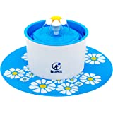 Best Pets Pet water fountain - drinking electric dispenser bowl for cats dogs and birds - 3 water flow drink settings with ultra silent pump - blue flower fountains