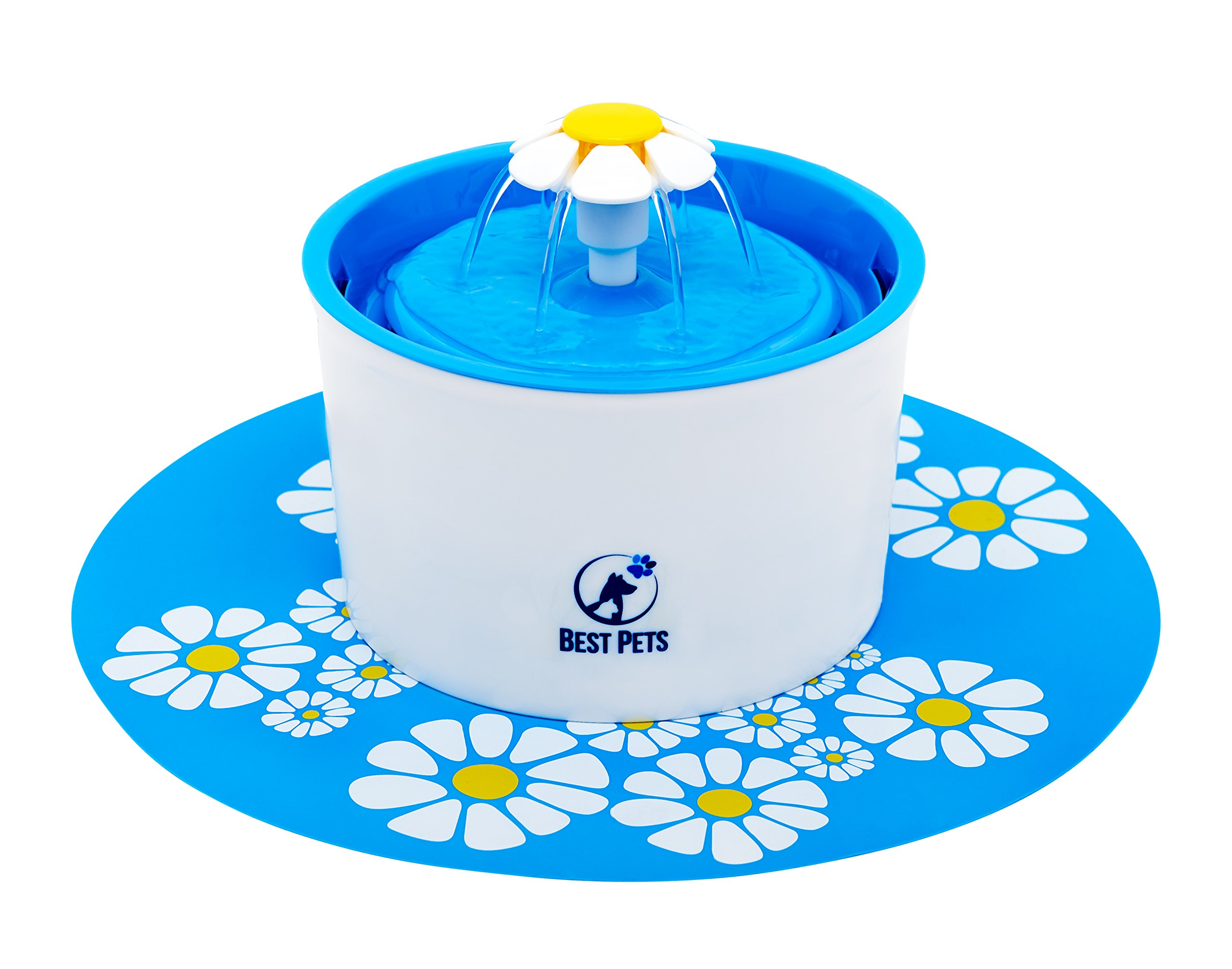 Best Pets Pet water fountain - drinking electric dispenser bowl for cats dogs and birds - 3 water flow drink settings with ultra silent pump - blue flower fountains by Best Pets