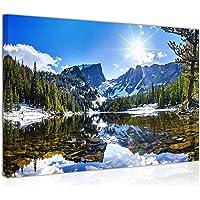 Paesaggio di Montagna, Lago, Alberi e Raggi di Sole