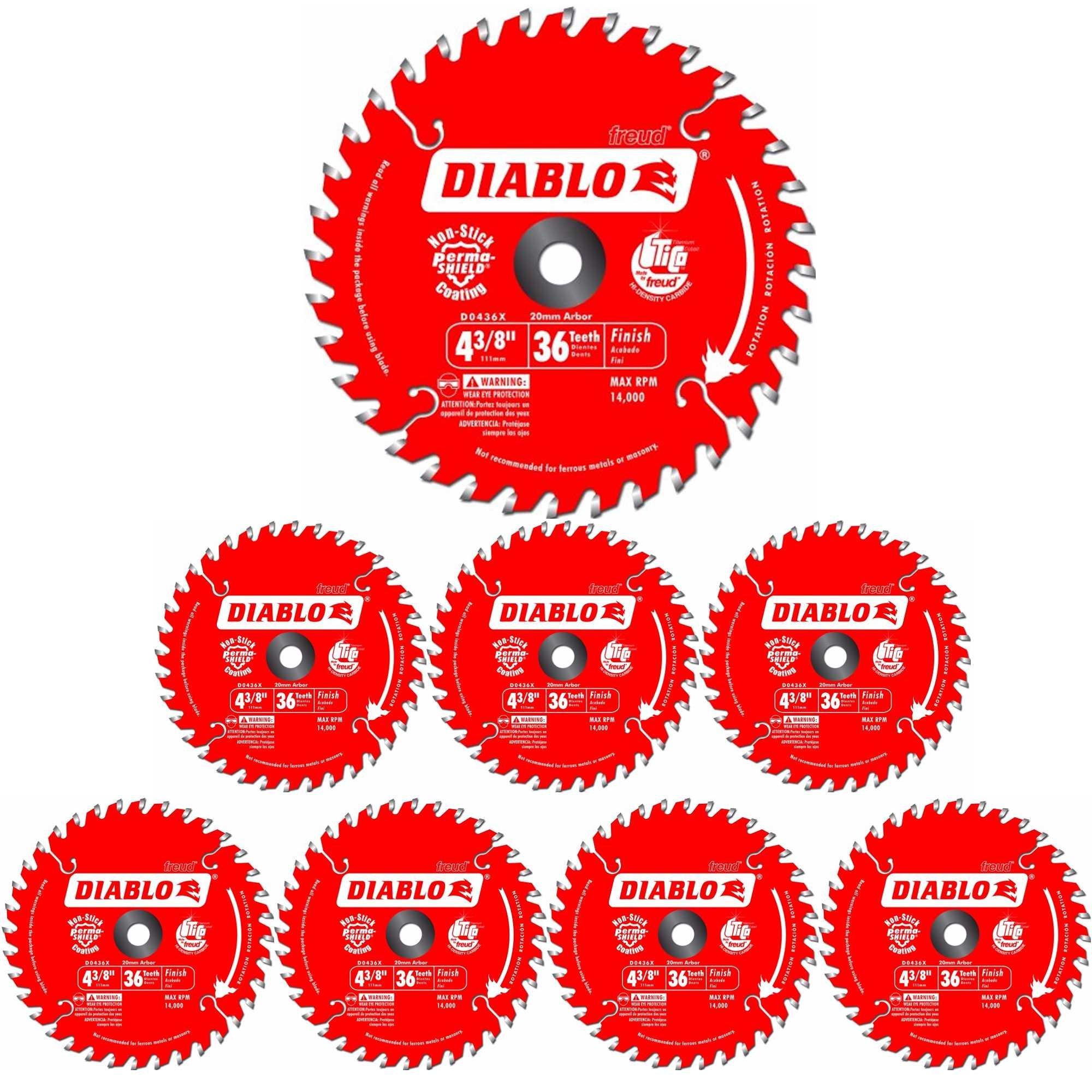 8 Hojas de Sierra DIABLO D0436X 4 3/8 x 36T ATB 20 Eje milim