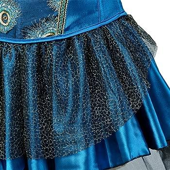 FeelinGirl Vintage Gótico Corsé Pavo Real Bustier con Falda para Mujer Fiesta Corset 3 Piezas Disfraz Sexy Vestido con Tanga