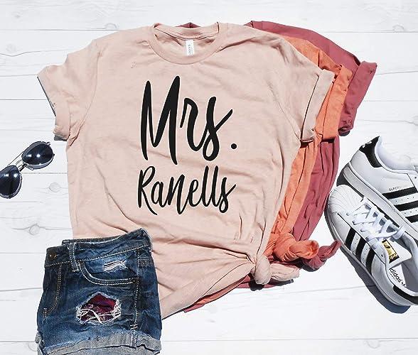 Amazon com: Mrs  Last Name Shirt - Custom Last Name Tee - Bride Gift