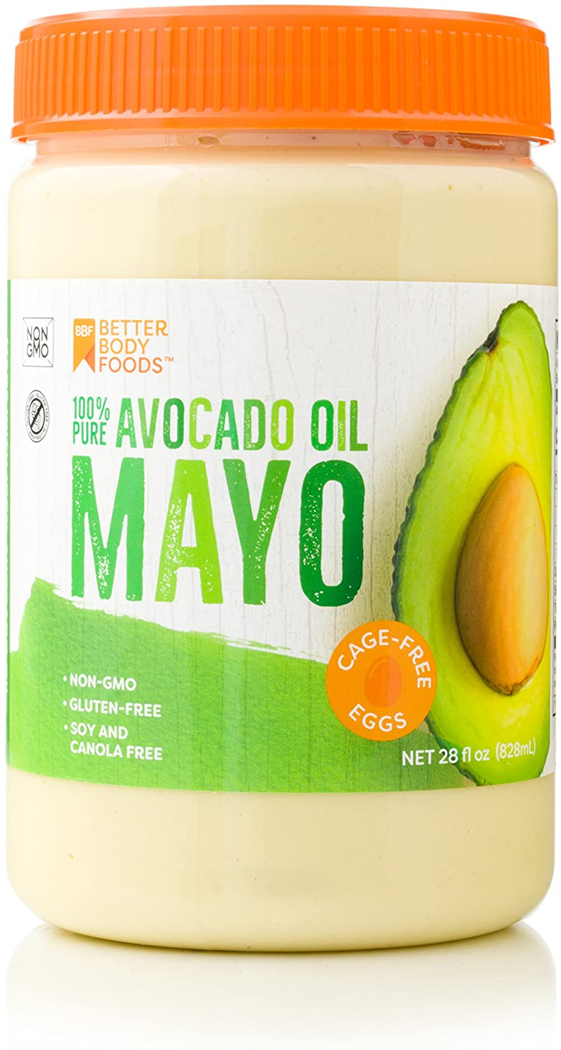 BetterBody Foods Avocado Oil Mayonnaise Avocado Oil Mayo is made with 100% Avocado Oil Non-GMO Cage-Free Eggs Soy & Canola Free 28 Ounce Paleo