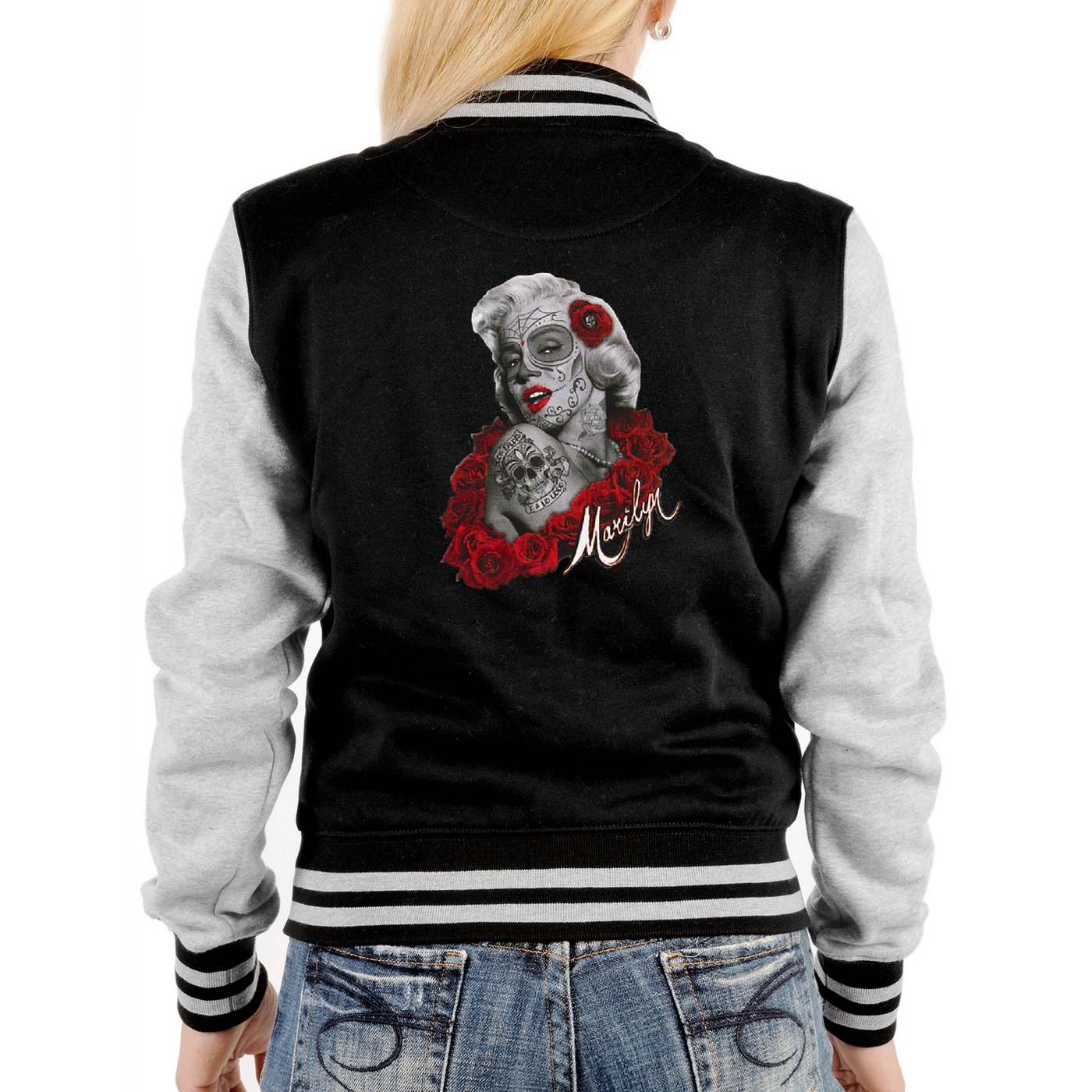 Herren College Jacke mit Gangster Marilyn Monroe Motiv