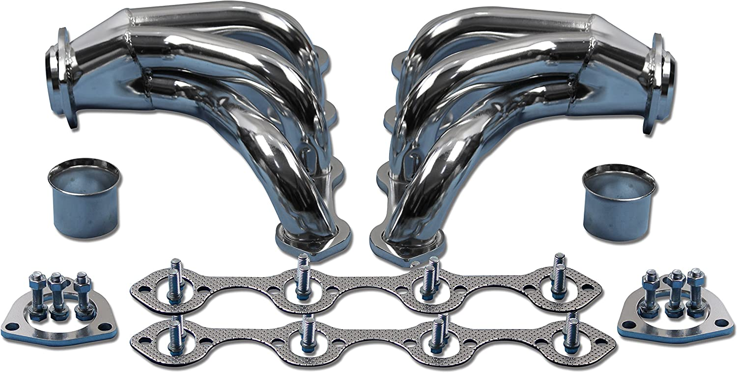 For Small Block Ford 289 302 351W Tight Fit Black Coated Hugger Headers SBF