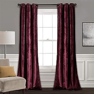 Lush Decor Prima Velvet Curtains Color Block Room Darkening Window Panel Set for Living, Dining, Bedroom (Pair), 84