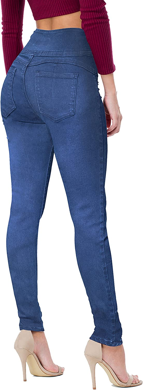 Hybrid /& Company Women Butt Lift 3 Button High Wide Waist Stretch Denim Destructed Pants P45057SKX MEDBLU 16