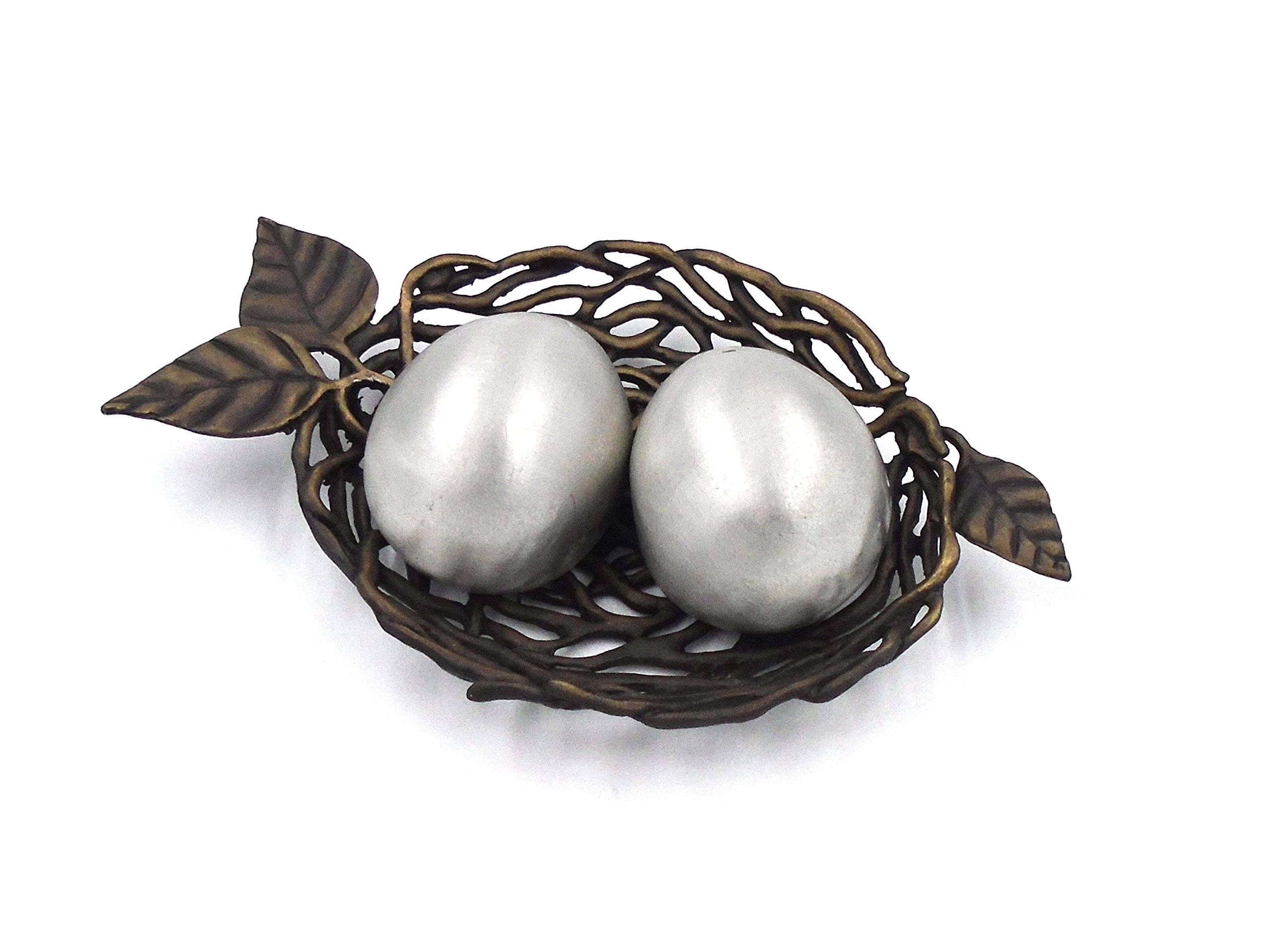 ''Bird's Nest with Eggs'' Salt Shakers by Michael Michaud for Silver Seasons Table Art