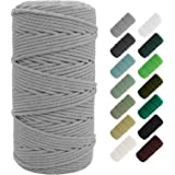 SUNTQ Macrame Cord 4-Strand Twisted (3mmx109yard) Soft Unstained Cotton Rope for Handmade Plant Hanger, Wall Hanging Craft Ma
