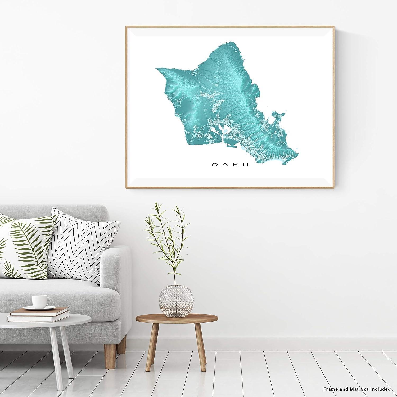 graphic regarding Printable Map of Oahu known as : Oahu Map Print, Hawaii, Tropical Island Artwork