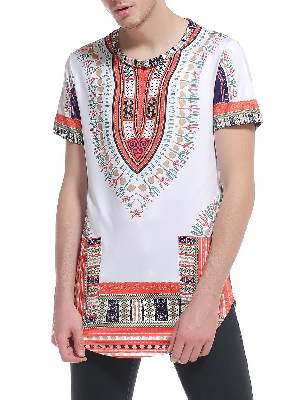 Sanatty Dashiki Shirts Men Traditional Printed Summer Top Blouse Short Sleeve Shirts Hip Hop (M, Orange)